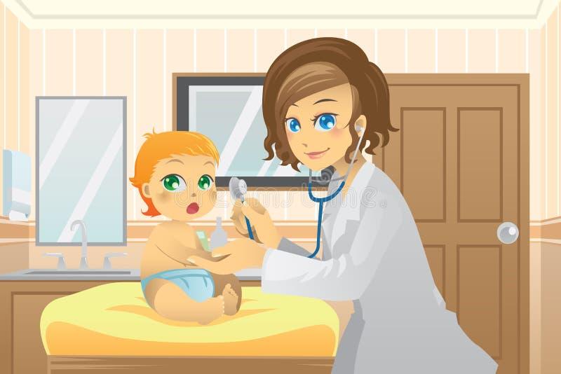 dziecko pediatra ilustracji