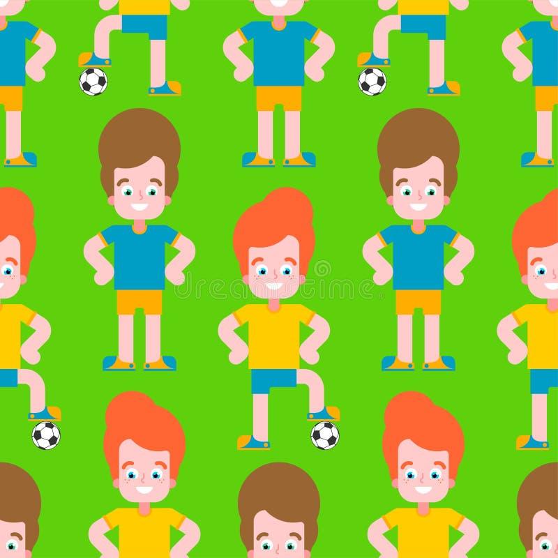 Dziecko piłki nożnej wzór bezszwowy Chłopiec gracz futbolu set drużynowa Mała futbolisty wektoru ilustracja ilustracja wektor