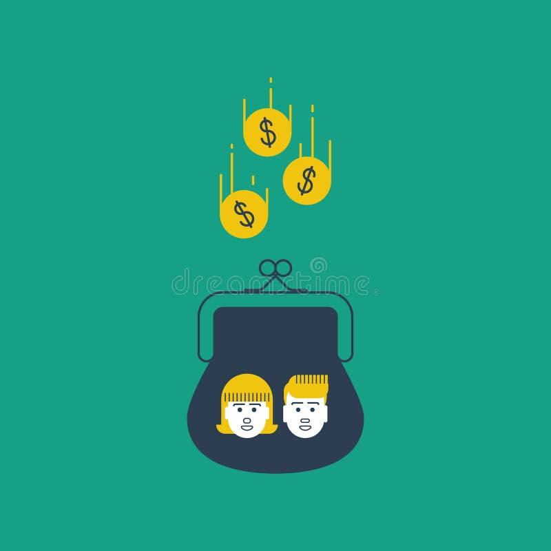 Dziecko pieniądze akumulacja, tolerowania pojęcie royalty ilustracja