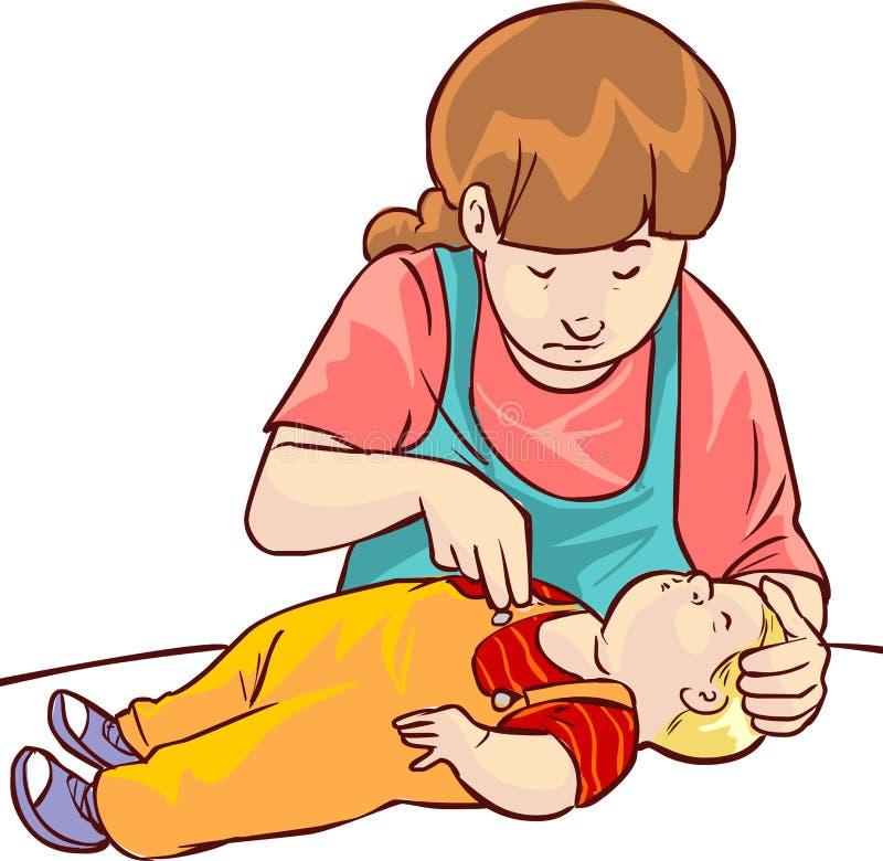 Dziecko pierwsza pomoc ilustracja wektor