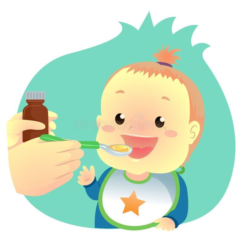 Dziecko pije medycyna syrop ilustracja wektor