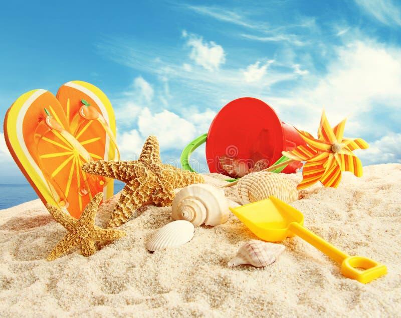 Dziecko plaży zabawki w piasku fotografia royalty free