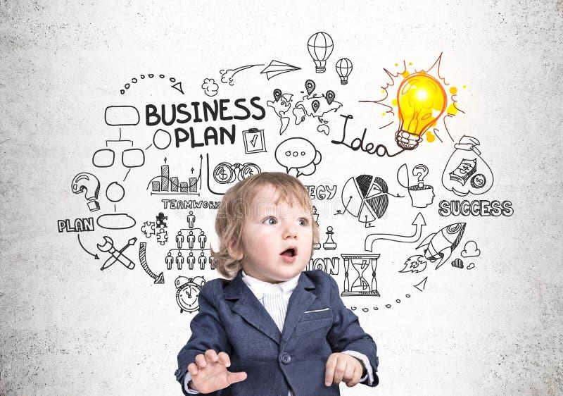 Dziecko plan biznesowy i biznesmen obrazy stock