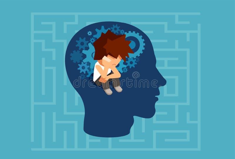 Dziecko podświadomy umysł dorosły mężczyzna pojęcie ilustracji