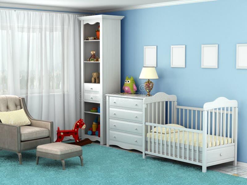 Dziecko pokój, zabawki, meble, podłoga, dokąd tam jest krzesło, ilustracja wektor