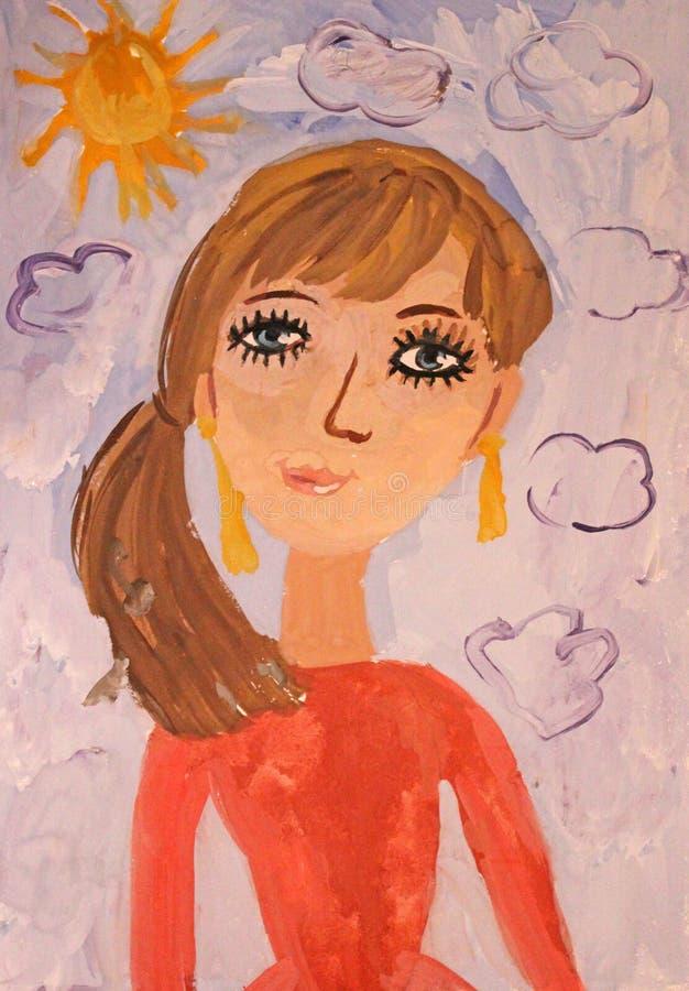 Dziecko portreta rysunkowa matka royalty ilustracja