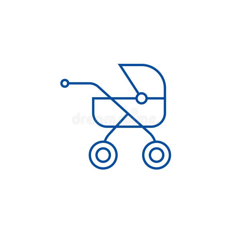 Dziecko powozik, fracht ikony kreskowy pojęcie Dziecko powozik, kareciany płaski wektorowy symbol, znak, kontur ilustracja ilustracji