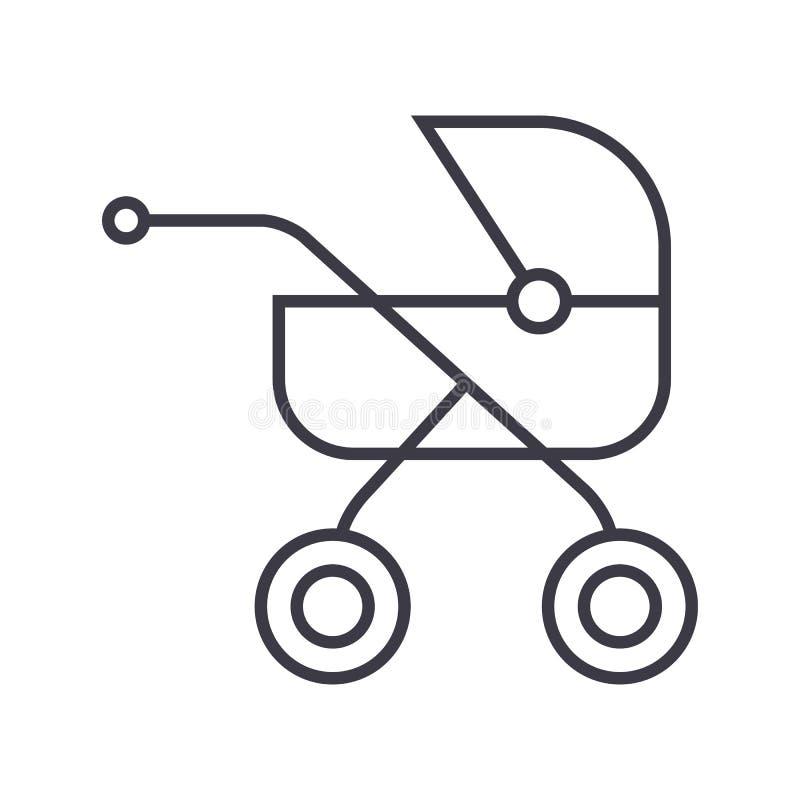 Dziecko powozik, kareciana wektor linii ikona, znak, ilustracja na tle, editable uderzenia ilustracji
