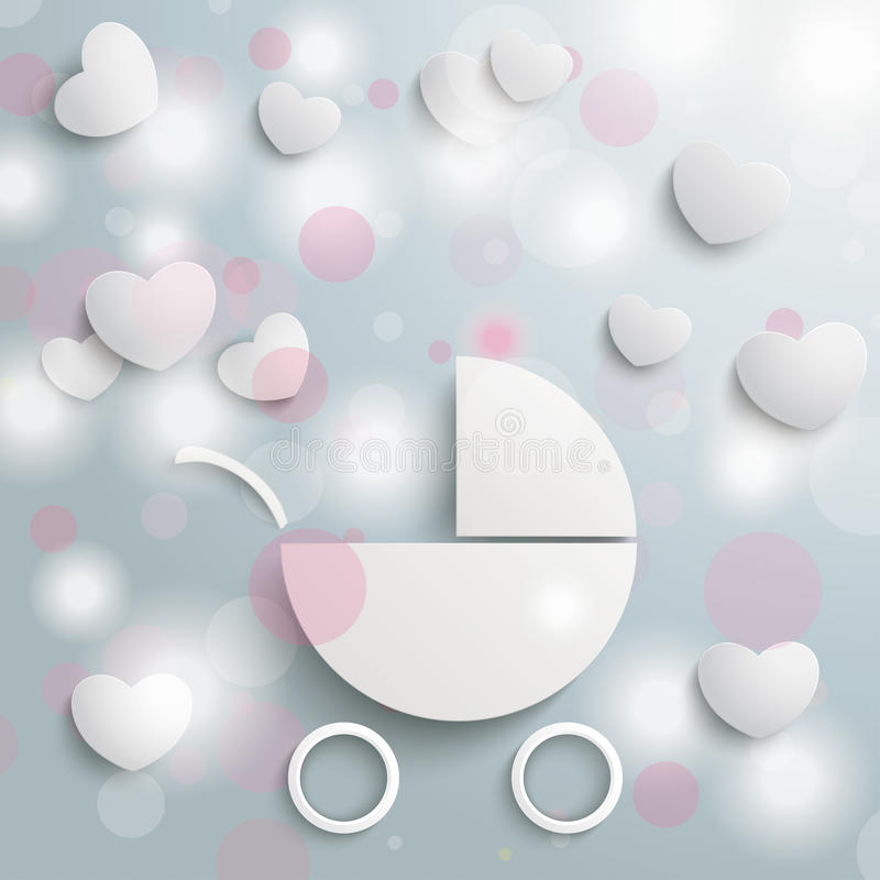 Dziecko powozik Zaświeca serca ilustracji