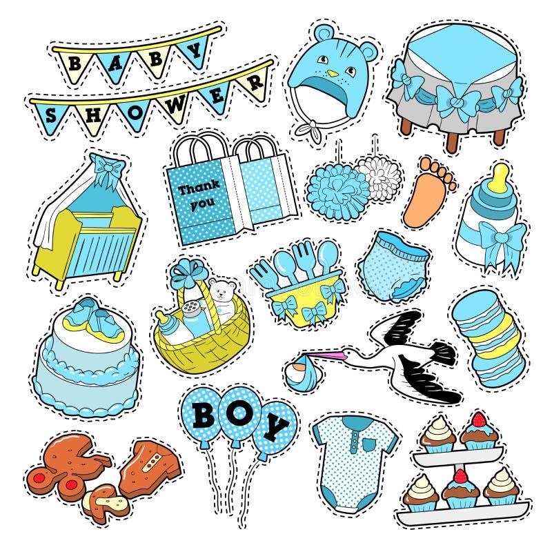 Dziecko prysznic chłopiec majchery, odznaki, łaty dla przyjęcie urodzinowe dekoraci ilustracja wektor