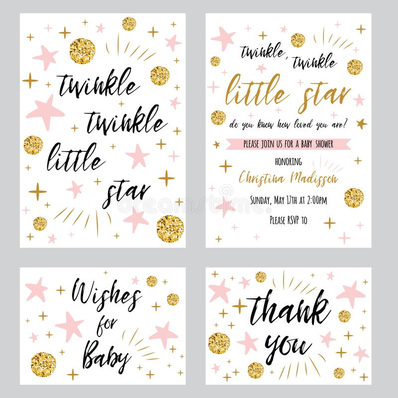 Dziecko prysznic dziewczyny szablonów migotania migotania mały gwiazdowy tekst z złocistym polki kropki menchii gwiazdy invtation ilustracji