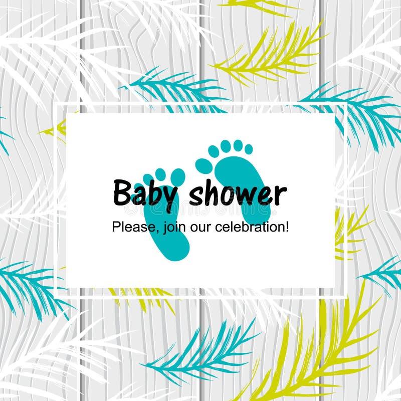 Dziecko prysznic karta z nowożytnym tropikalnym liściem ilustracja wektor