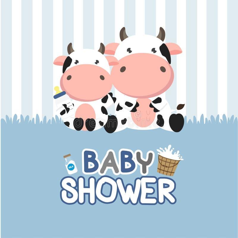 Dziecko prysznic kartka z pozdrowieniami z ma?? krow? r?wnie? zwr?ci? corel ilustracji wektora royalty ilustracja