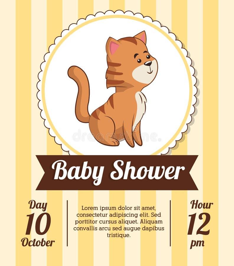 Dziecko prysznic karty zaproszenia daty śliczny tygrysi dekoracyjny ilustracja wektor