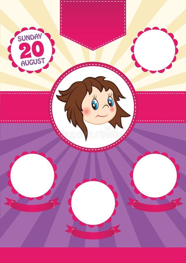 Dziecko prysznic karty zaproszenie, wektorowy szablon ilustracji