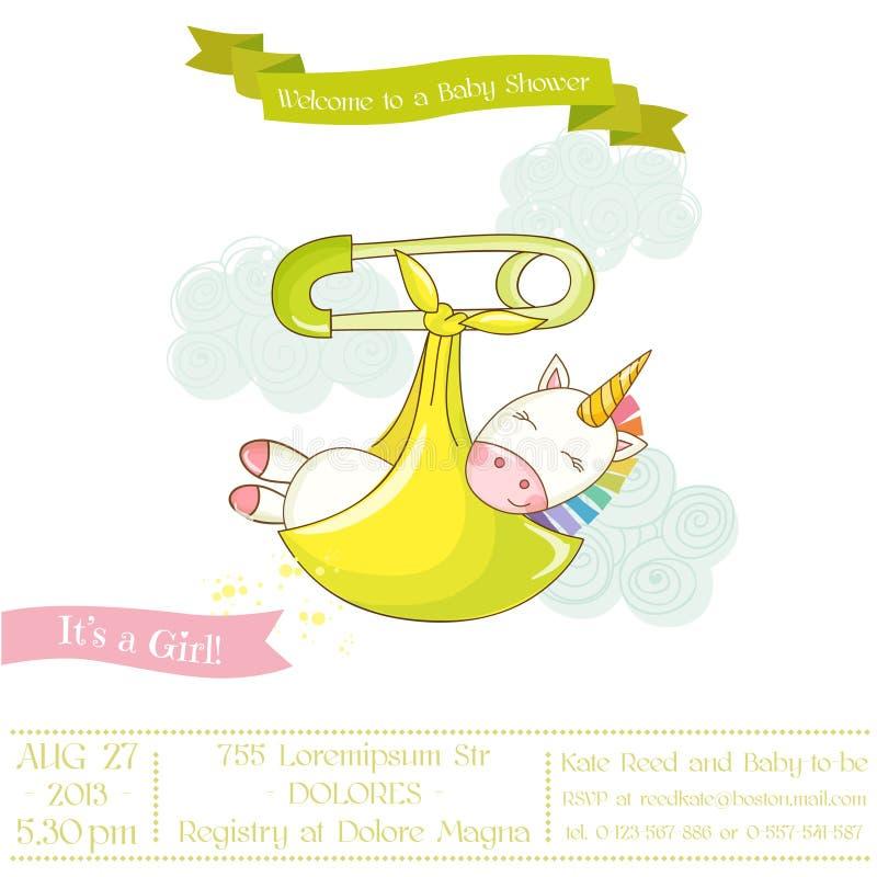 Dziecko prysznic lub Przyjazdowa karta - dziecko jednorożec dziewczyna ilustracji