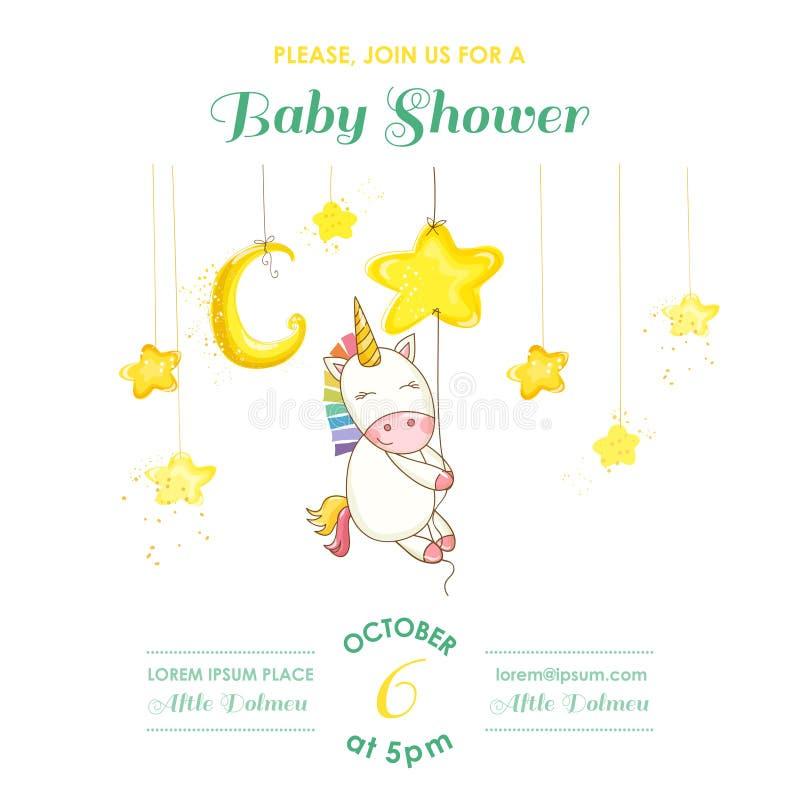 Dziecko prysznic lub Przyjazdowa karta - dziecko jednorożec dziewczyna royalty ilustracja