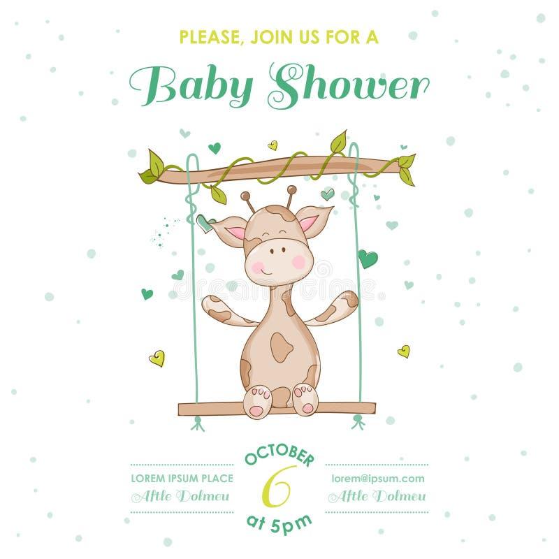Dziecko prysznic lub Przyjazdowa karta z dziecko żyrafą royalty ilustracja