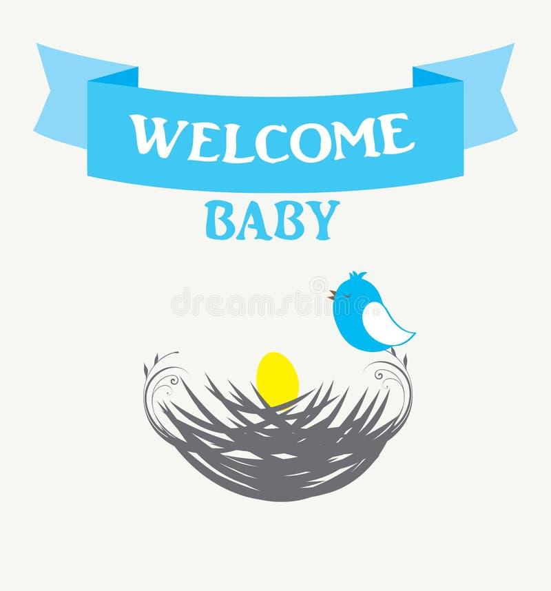 Dziecko prysznic ptaka gniazdeczko royalty ilustracja