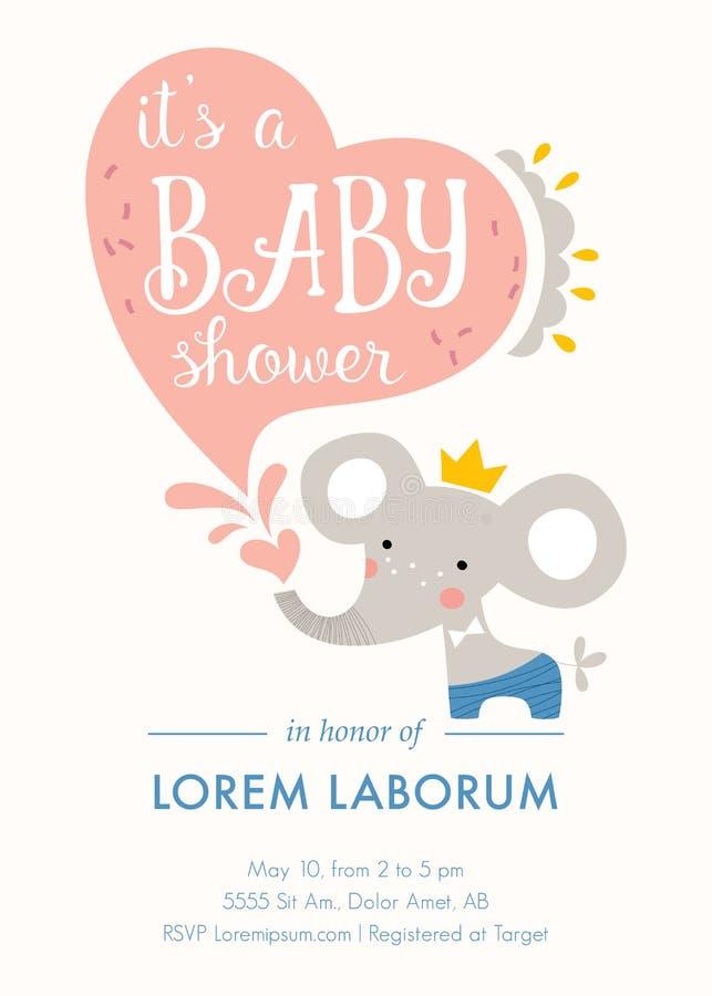 Dziecko prysznic słonia karta fotografia stock