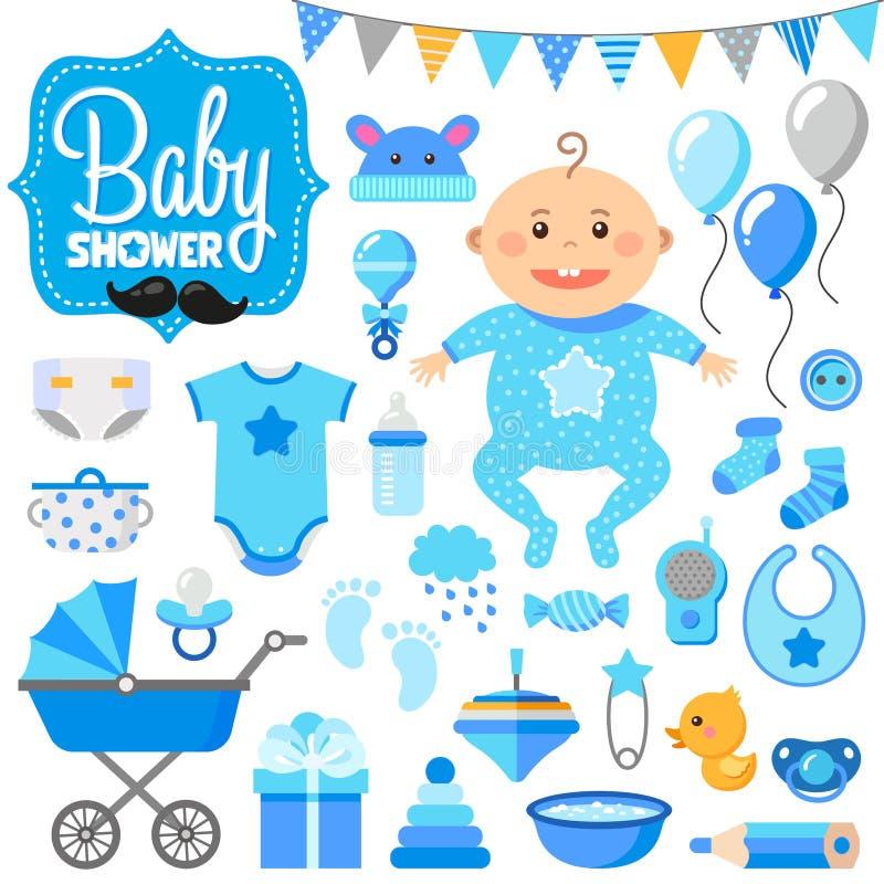 Dziecko prysznic set chłopcy obrazy stock