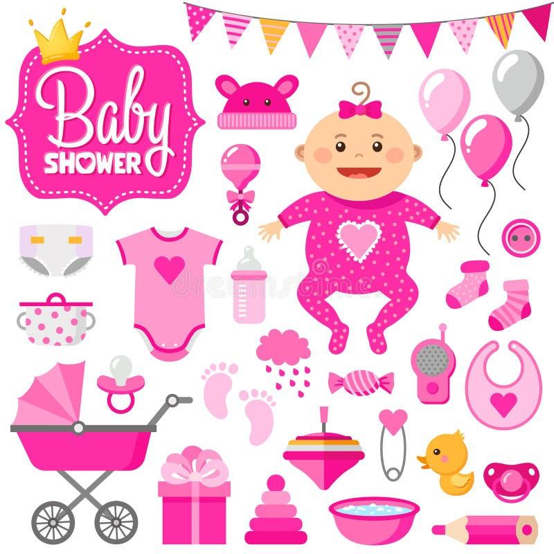 Dziecko prysznic set dziewczyna zdjęcie stock