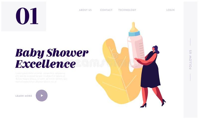 Dziecko prysznic wydarzenia świętowania strony internetowej lądowania strona, Malutki kobieta charakter Trzyma Ogromną butelkę z  ilustracja wektor