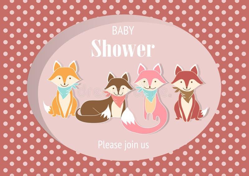 dziecko prysznic zaproszenia karty, plakat, szablon, kartka z pozdrowieniami, zwierzę, pies, wilk, lis, Wektorowe ilustracje ilustracji