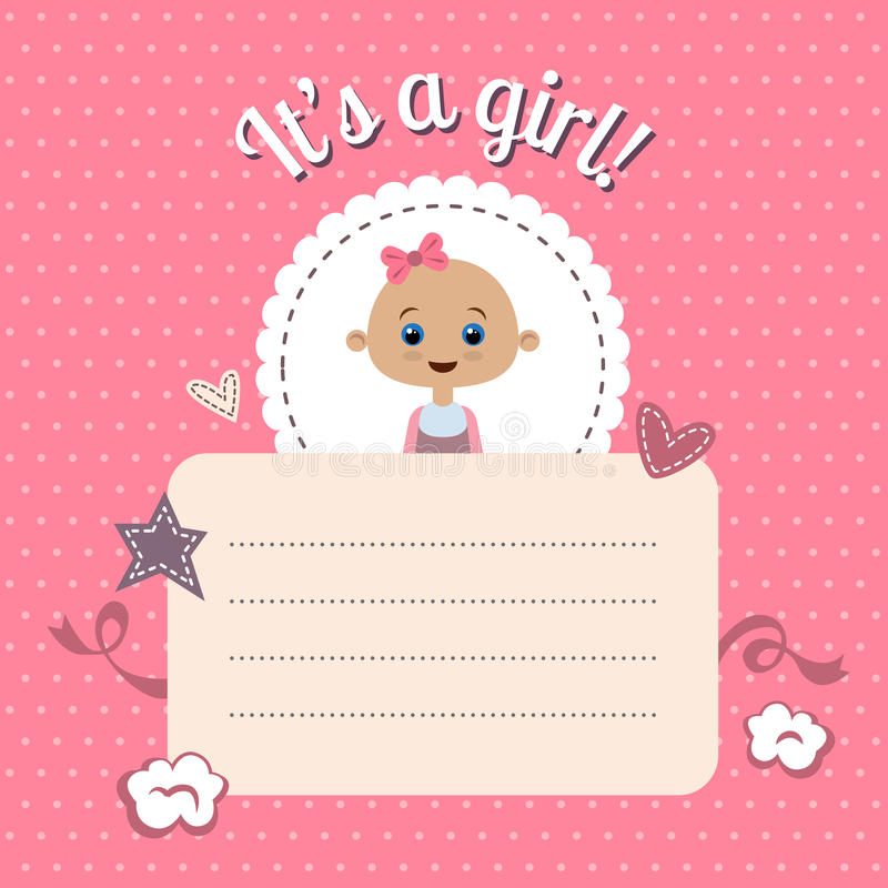 Dziecko prysznic zaproszenie dla dziewczyny ilustracja wektor