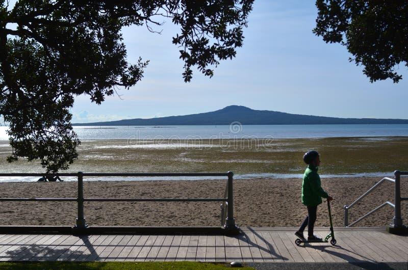 Dziecko przejażdżka hulajnoga przeciw Rangitoto wyspie obraz royalty free