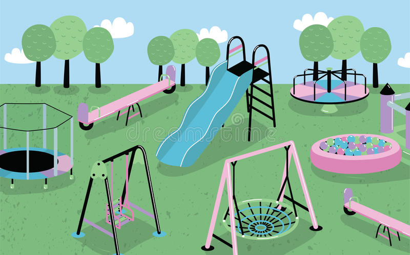 dziecko ' Różny dzieci s wyposażenia plenerowy trampoline, pełen wigoru kasztel, wzgórze, carousel, piaskownica, obruszenie royalty ilustracja