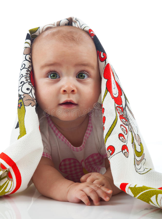 dziecko ręcznik Wiek 6 miesięcy zdjęcia royalty free