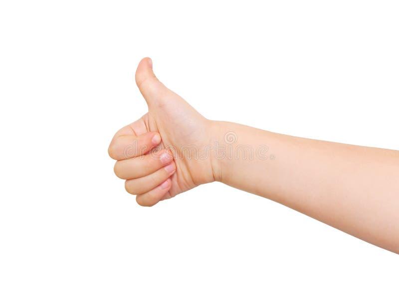 Dziecko ręka pokazuje kciuk up, jak znak zdjęcie royalty free
