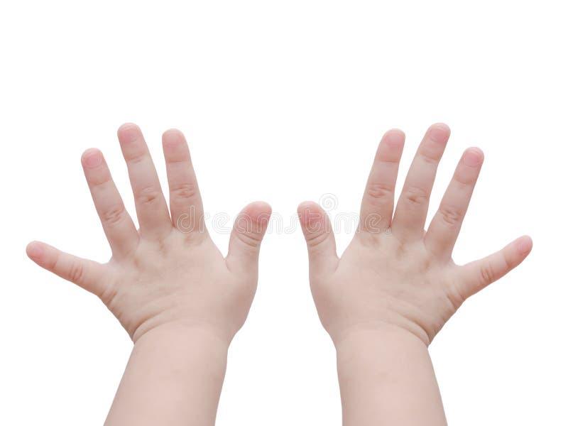 Dziecko ręki nad bielem zdjęcia royalty free