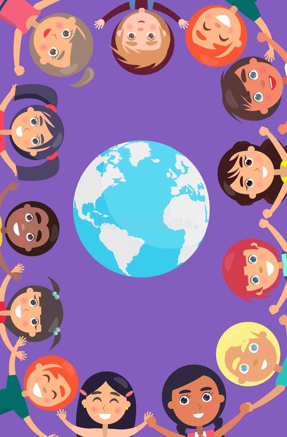 Dziecko ręki wokoło Ziemskiej planety i głowy royalty ilustracja