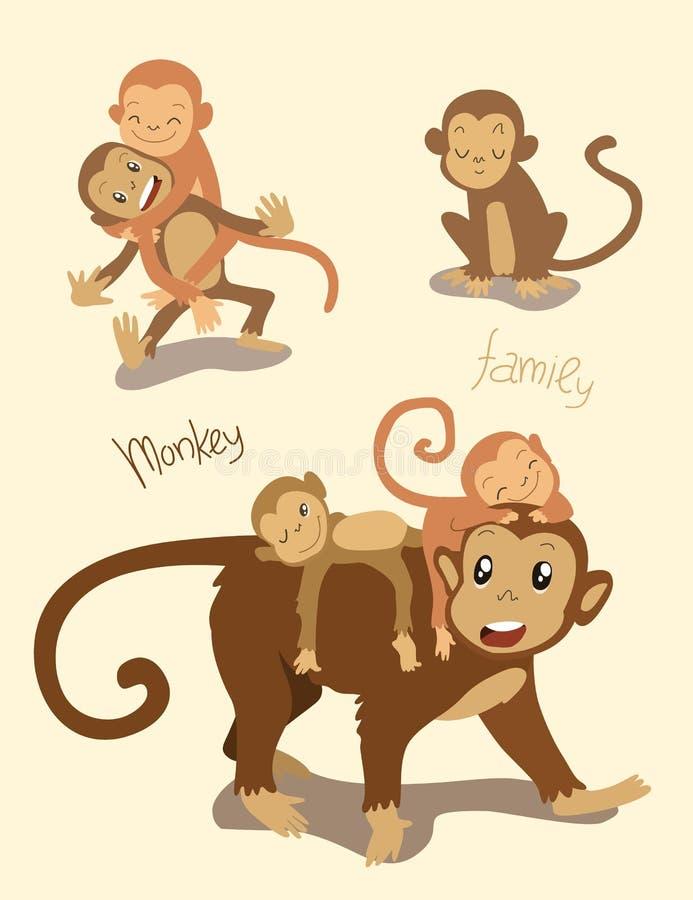 dziecko rodzinny przygotowywa jej makaka małpy matki Mama z ślicznymi małpimi dziećmi bawić się wpólnie odosobniony ilustracji