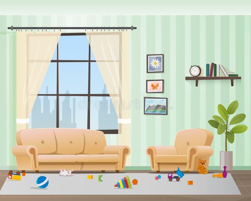 Dziecko Rozpraszać zabawki w Upaćkanym Pustym Żywym pokoju ilustracja wektor