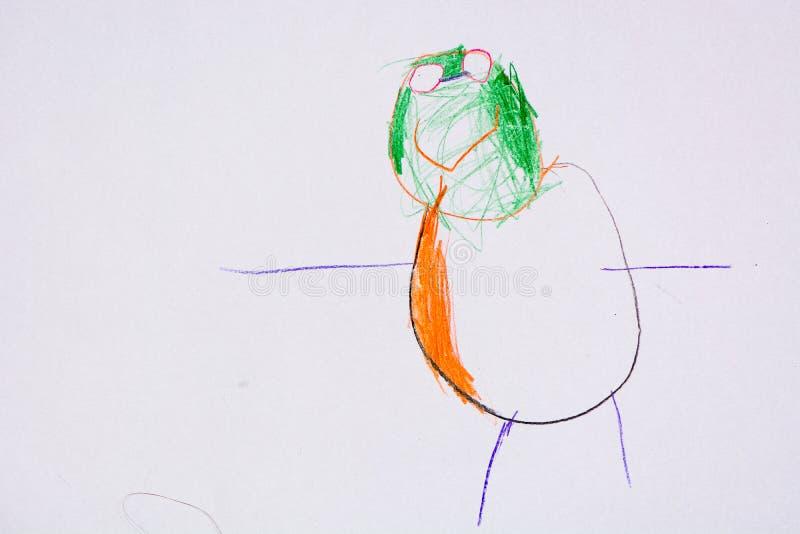 Dziecko rysunek jej ojciec zdjęcia stock