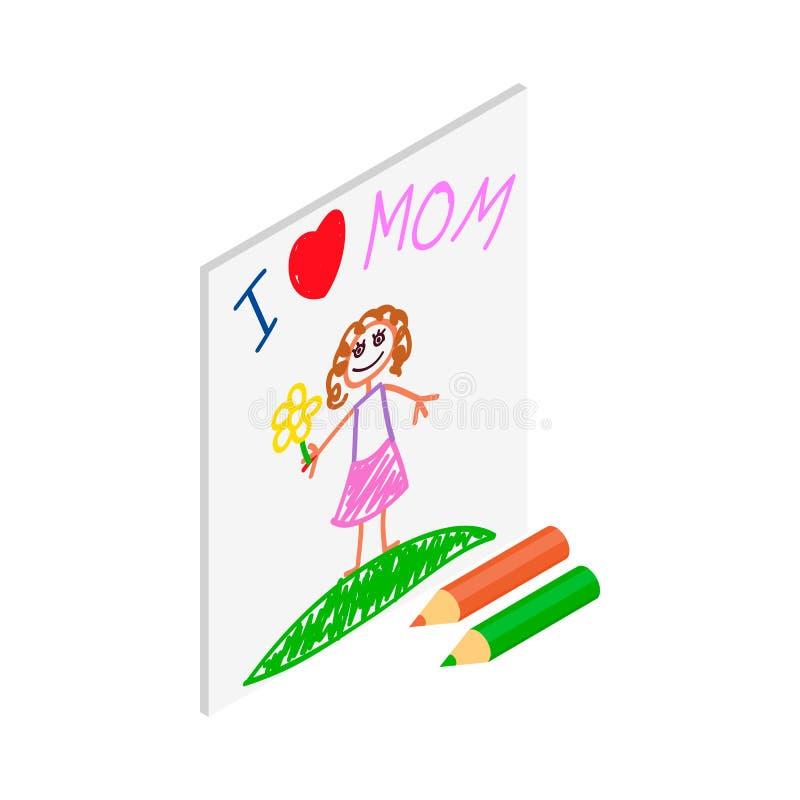 Dziecko rysunek kocham mama obrazka isometric ikonę ilustracji