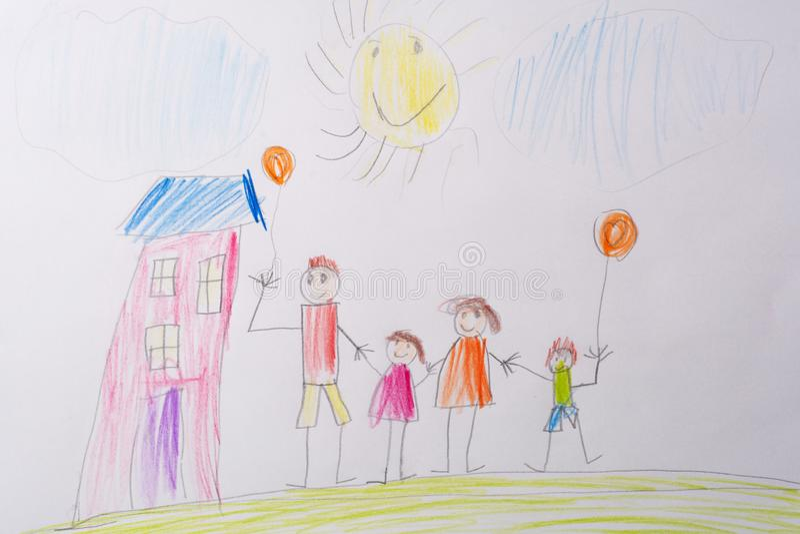 Dziecko rysunek Mój Szczęśliwa rodzina Pojęcie dziecko psychologia zdjęcie stock