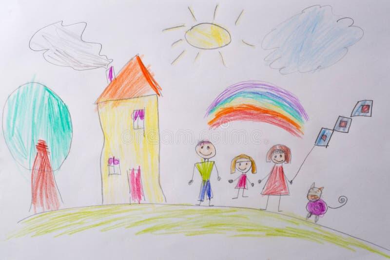 Dziecko rysunek Mój Szczęśliwa rodzina Pojęcie dziecko psychologia Psychologiczny testowanie dziecka używać zdjęcia royalty free