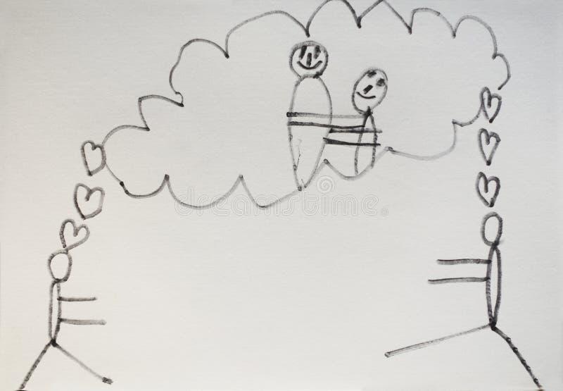 Dziecko rysunek miłość zdjęcie royalty free