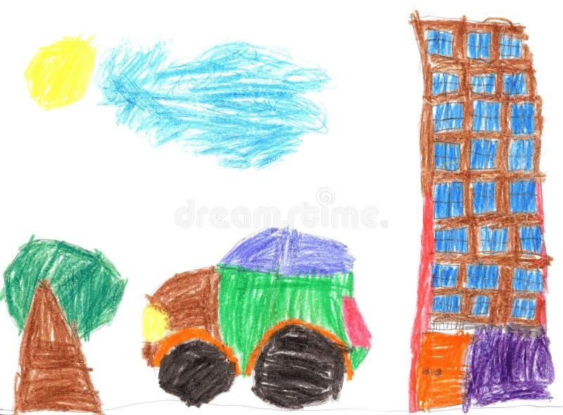 Dziecko rysunek samochody i budynki royalty ilustracja