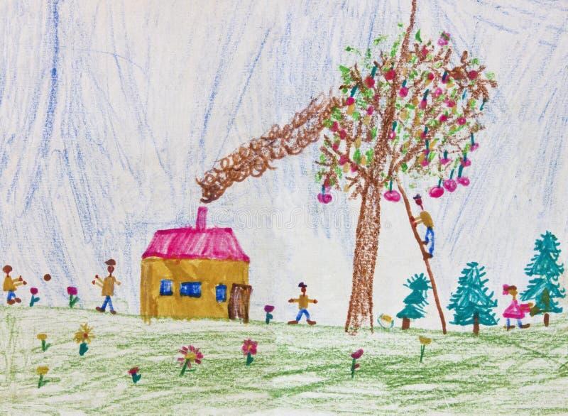 Dziecko rysunek szczęśliwa rodzina ilustracji