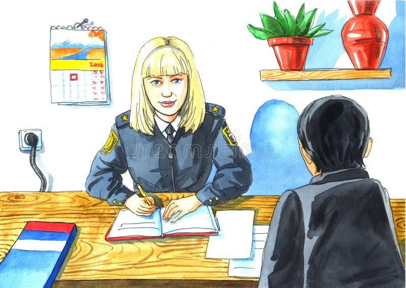 Dziecko rysunek zawodu oficer śledczy ilustracji