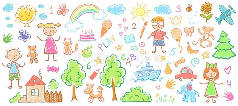 Dziecko rysunki Dzieciaki doodle obrazy, dziecko kredkowego rysunek i ręka rysującą dzieciaka wektoru ilustrację, royalty ilustracja