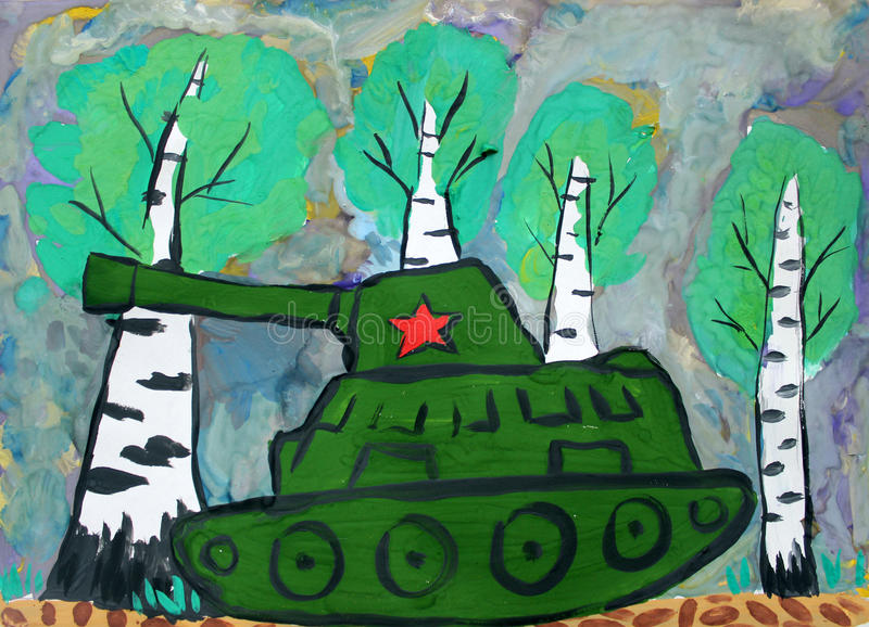 Dziecko rysunkowa cysternowa wojna ilustracja wektor