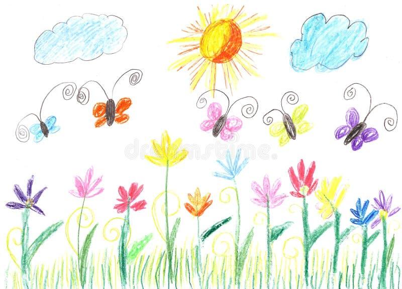 Dziecko rysunkowy motyl i kwiat natura royalty ilustracja