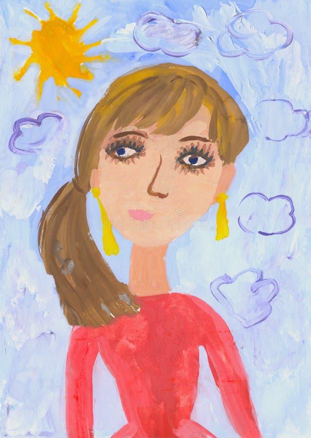 Dziecko rysunku matka ilustracji