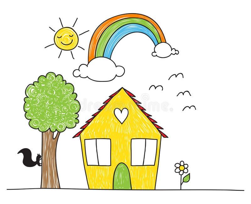 Dziecko rysunku stylu otaczania i dom ilustracji